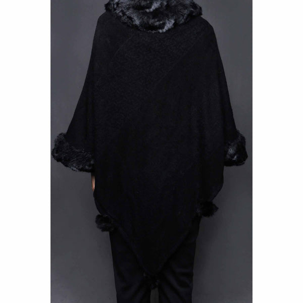 Stylo-Black Color Uppers Cape Shawl PW0024