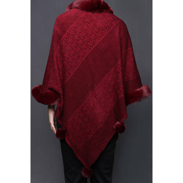 Stylo-Maroon Color Uppers Cape Shawl PW0024