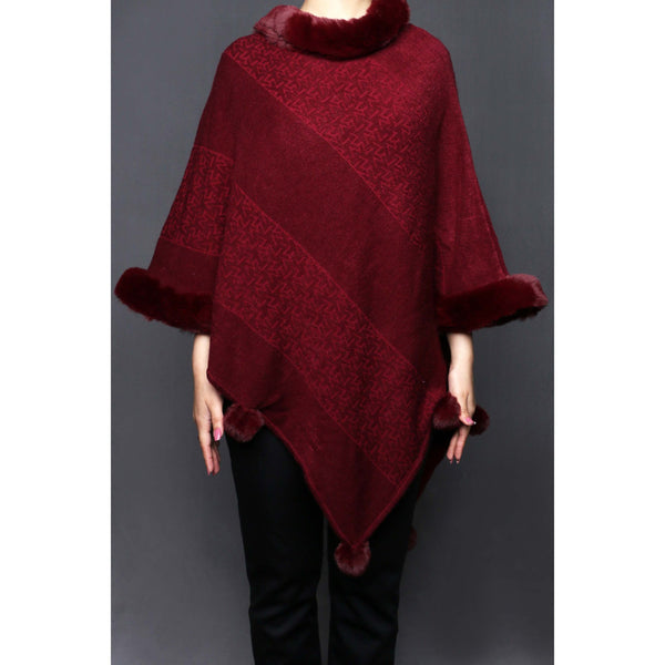 Buy Maroon Color Uppers Cape Shawl PW0024 at Shapago