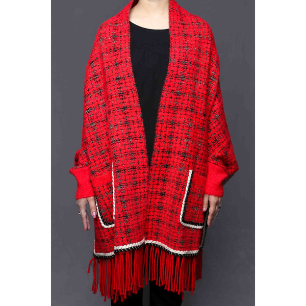 Buy Red Color Uppers Cape Shawl PW0025 at Shapago