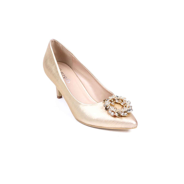 Buy Golden Color Fancy Court Shoes WN7020 at Shapago