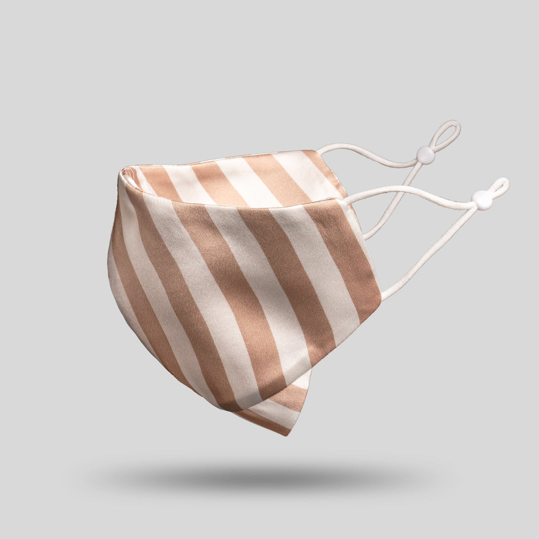 Mulberry Silk Face Mask - Nude Stripe - 22Silk