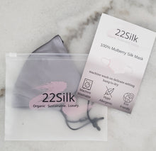Load image into Gallery viewer, Mulberry Silk Face Mask - Grey - 22Silk