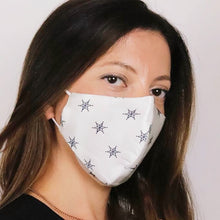 Load image into Gallery viewer, Mulberry Silk Face Mask - White Star