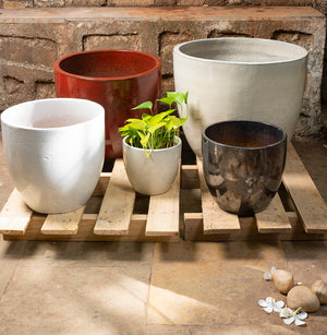 Glazed ceramic planters