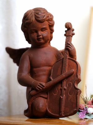 Rustic finish angel playing voilin