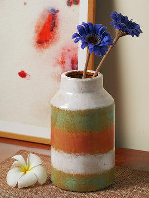 Two tone tall ceramic vase