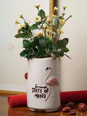 Flamingo state of mind vase