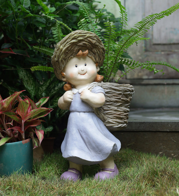 Girl holding basket decor
