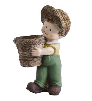 Boy holding basket decor