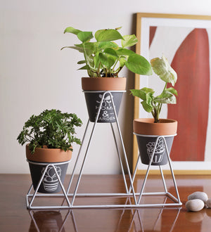 Pot holder stand with pots 7808-4