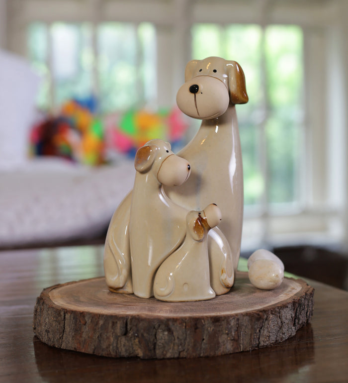 Dog family shape ceramic home decor