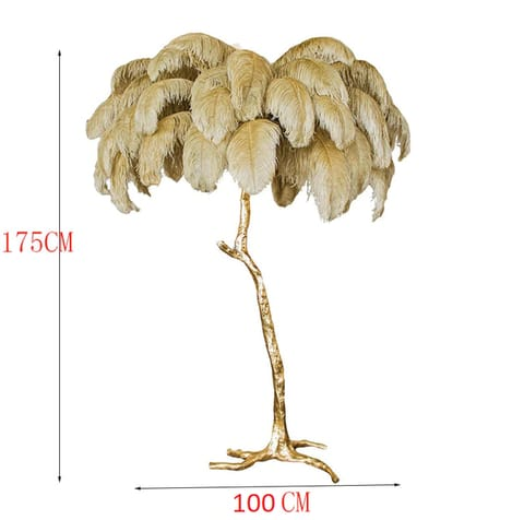 Grey Tree Feathers Floor Lamp