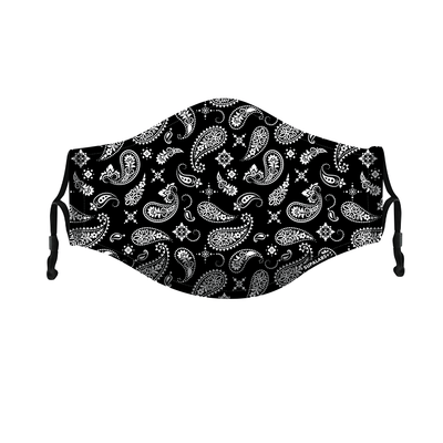 supalabs defend reusable face mask black and white paisley