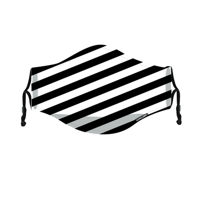 supalabs defend reusable face mask black and white stripe