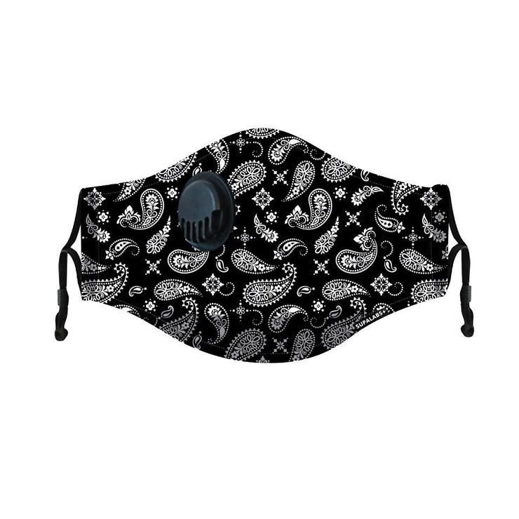 supalabs hero reusable face mask black and white paisley