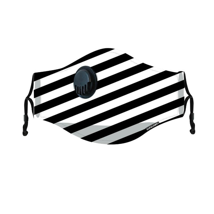 supalabs hero reusable face mask black and white stripe