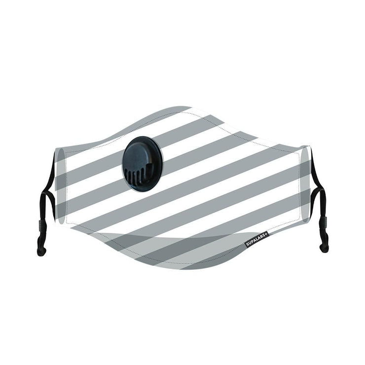 supalabs hero reusable face mask charcoal/white stripe