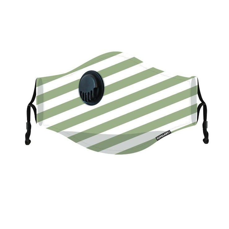 supalabs hero reusable face mask forest green stripe
