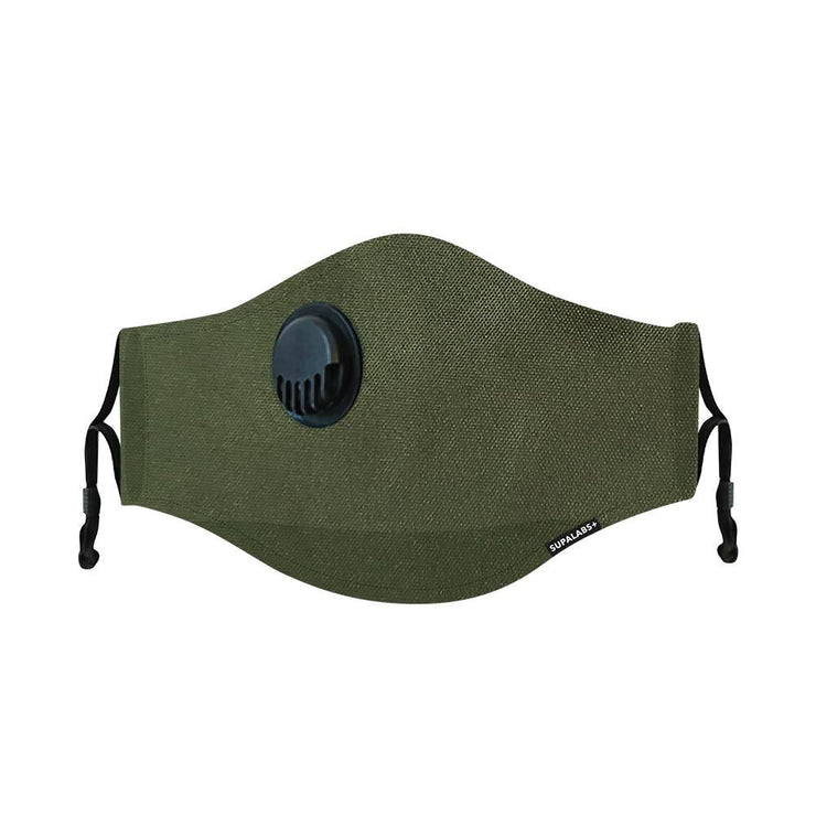 supalabs hero reusable face mask army green