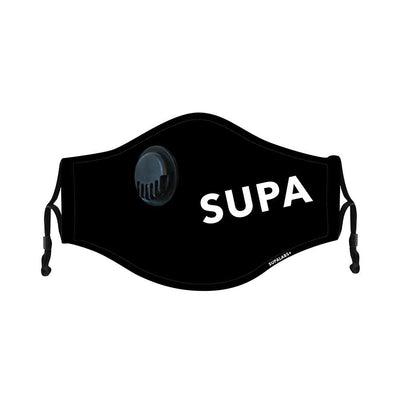 supa hero reusable face mask black