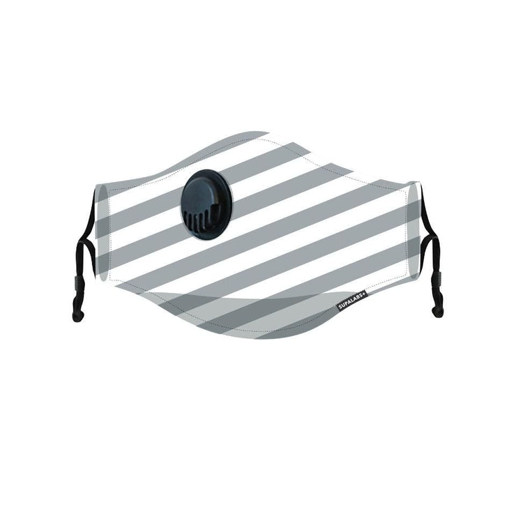 supalabs kids face mask charcoal/white stripe