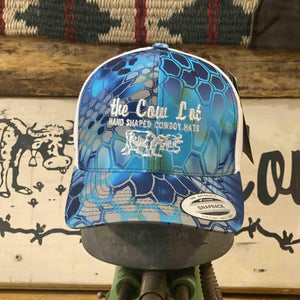 Cow Lot Logo Cap | Kryptex Camo Blue with Embroidered Logo
