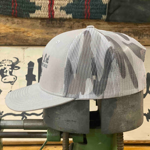 Cow Lot Logo Cap | Silver Front with Camo Mesh Back and Embroidered Logo