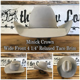 "Rodeo King 7x Silverbelly | Minick Crown | Wide Front | 4 1/4"" Relaxed Taco Brim"