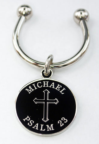 Cross Engraved Keychain
