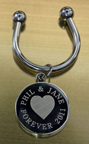 Heart Engraved Keychains