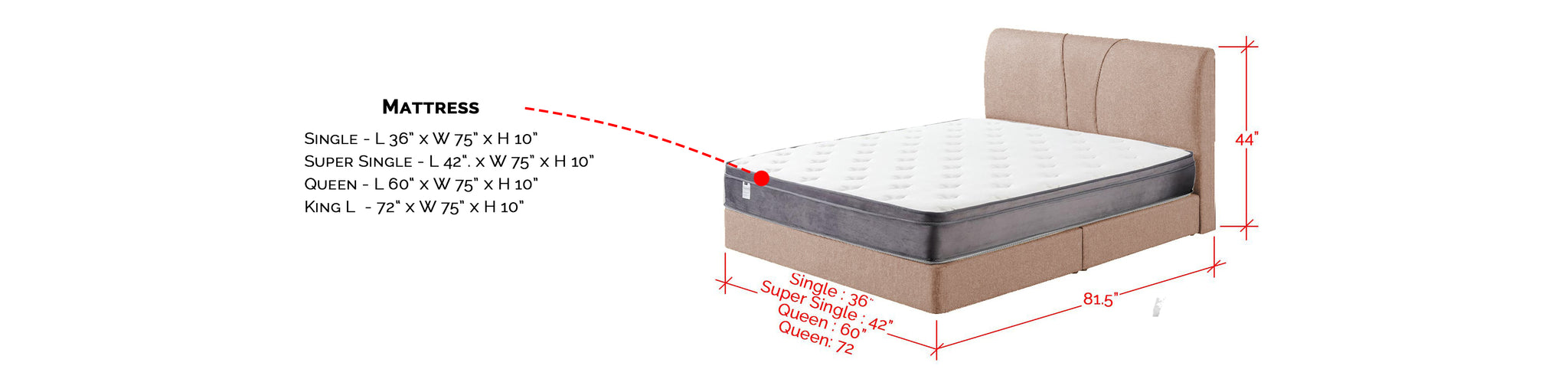 """Fanny Fabric Platform Divan + 10"""" Diomire UNO Mattress In Single, Super Single, Queen, And King Size"""