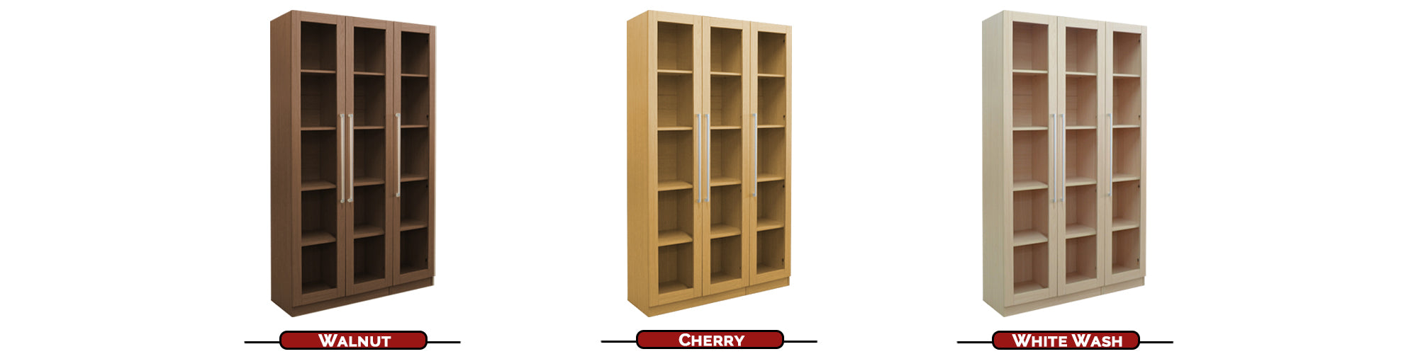- Engineered Solid Wood and Board - Smooth And Scratch Resistant Board Finish - Metal Handles with Comfortable Grip - 3x Glass Inserted Swing Door - Shelf Pin Hole - Adjustable Shelves by 3 cm Between Gaps - Enclosed Back Panel - Multiple Interior Compartments For Books And Decorations