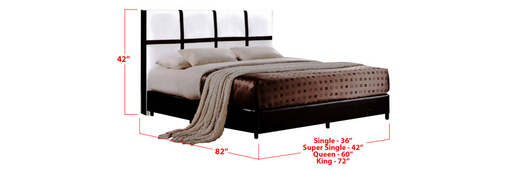 Alec Faux Leather Bed Frame BrownWhite In Single, Super Single, Queen, and King Size