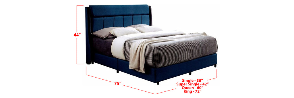 Alexander Fabric Bed Frame Dark Blue In Single, Super Single, Queen, and King Size