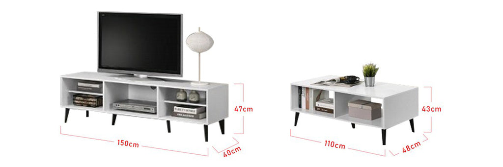 Andy Smart Series 5 Ft. TV Console And Coffee Table Set In White