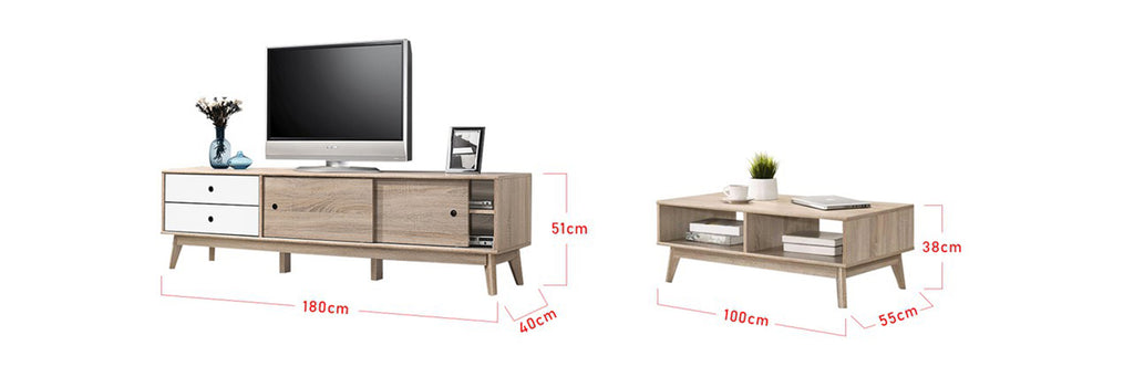 Andy Smart Series 6 Ft. TV Console And Coffee Table Set In NaturalWhite