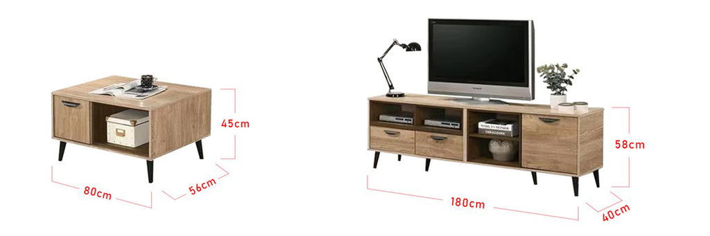 Andy Smart Series 6 Ft. TV Console And Coffee Table Set In Natural