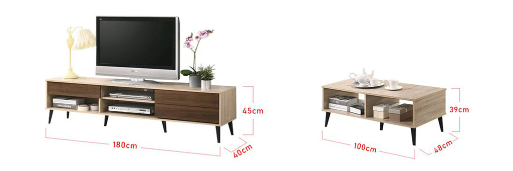 Andy Smart Series 6 Ft. TV Console And Coffee Table Set In Natural Walnut