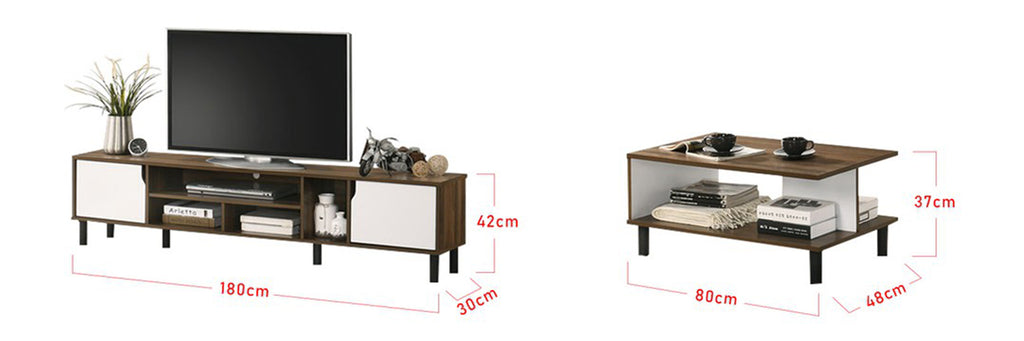 Andy Smart Series 6 Ft. TV Console And Coffee Table Set In Walnut White