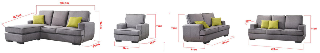 Aniyah 1/2/3 Seater Fabric Sofa Set In 4 Colors