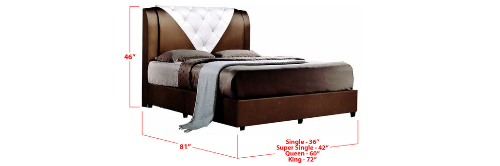 Arlo Faux Leather Bed Frame Brown/ White In Single, Super Single, Queen, and King Size
