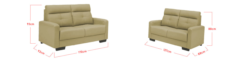 Aubrie 2/3 Seater Half Genuine Cowhide Leather Sofa in 6 Colours