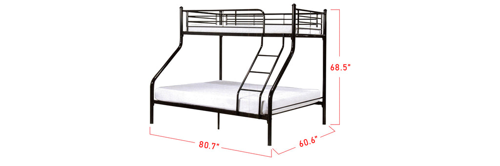 Aurora Series 12 Metal Bunk Bed Frame Black In Queen and Single Size