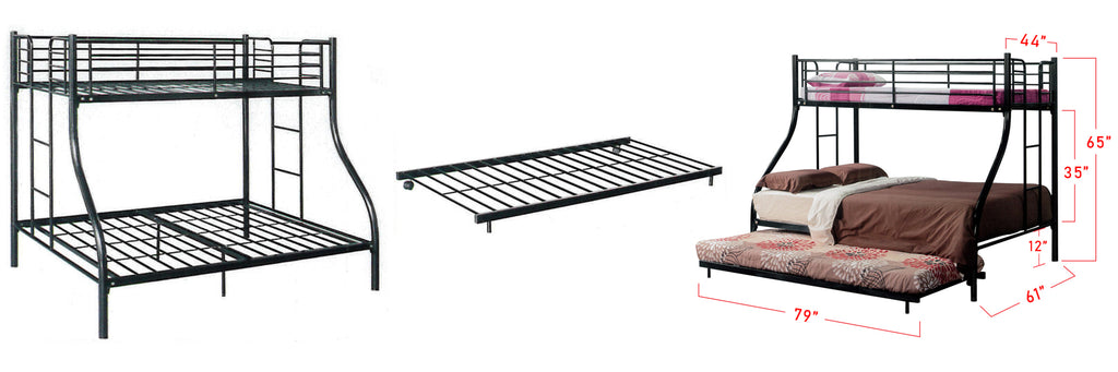 Aurora Series 2 Metal Bunk Bed Frame White In Queen and Single Size