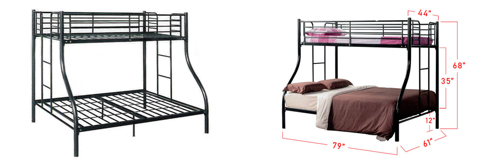 Aurora Series 3 Metal Bunk Bed Frame Black In Queen and Single Size
