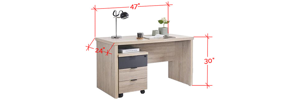 Ayer Series 6 Study Table With Chest Of Drawers Stool In Natural