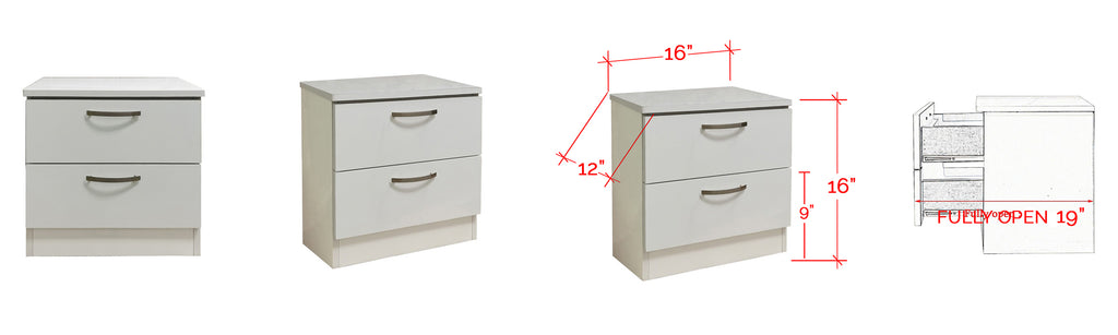 Bane Series Bedside Table In White