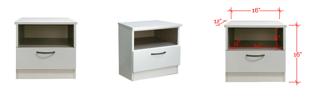 Barn Series Bedside Table In White