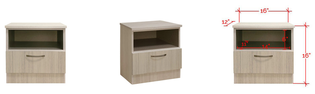 Barn Series Bedside Table In White Wash